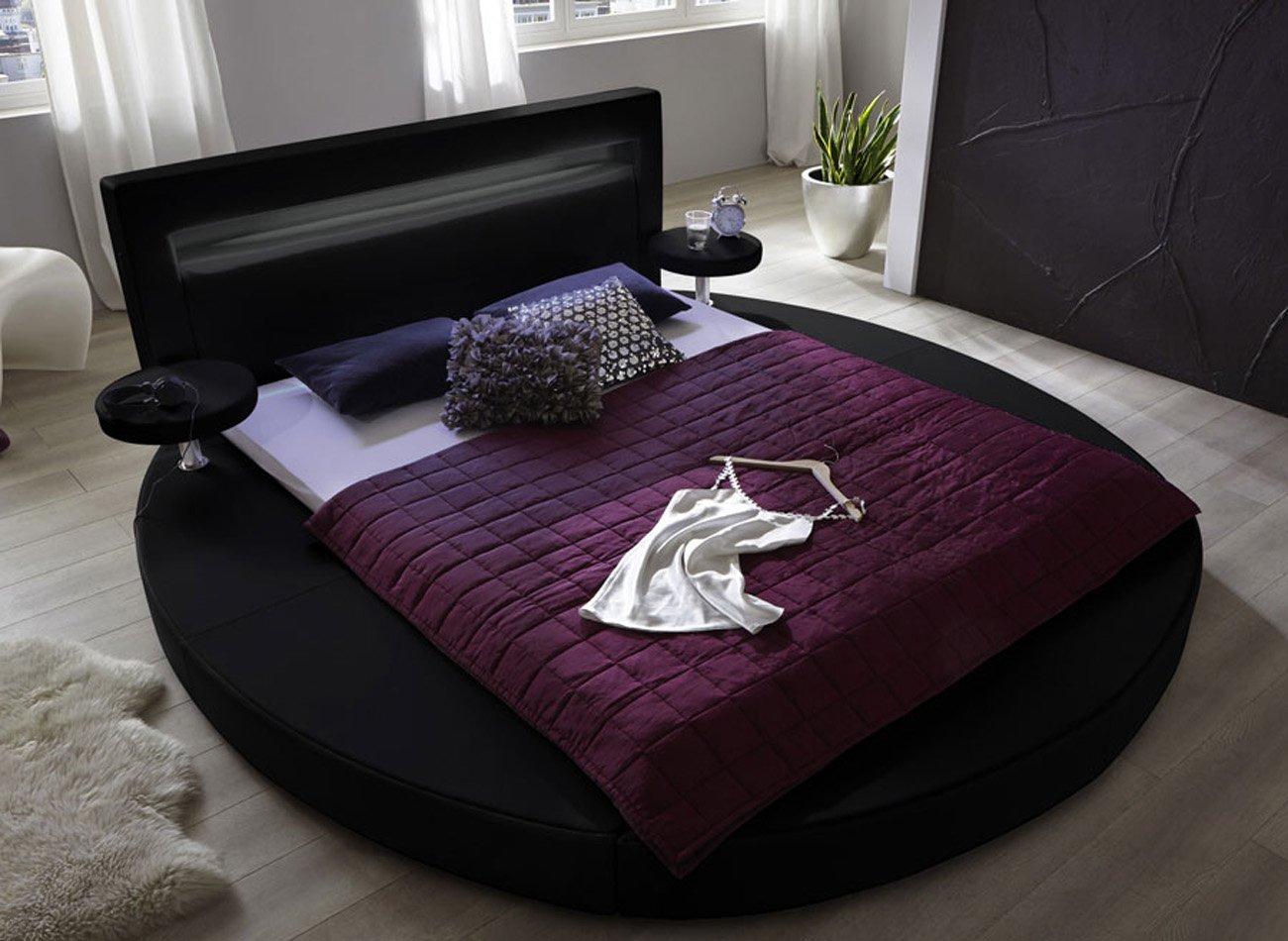 SAM® Rundbett Tangram in schwarz 180 x 200 cm Bett inklusive 2 Nachttischablagen Kopfteil mit Beleuchtung Wasserbett geeignet modernes abgerundetes Design teilozerlegt Auslieferung durch Spedition  Kundenbewertung und Beschreibung