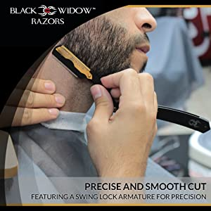 Barber Straight Razor, Professional Barber Straight Edge Razor - Barber Razor Compatible with Straight Razor Blade for Barber, Gold and Matte Black Straight Razor by Black Widow (1.5mm)