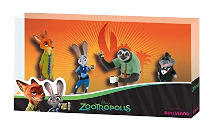 Bullyland Zootopie Figurines Set Deluxe - Nick Wilde, Judy Hopps, Mr Big und Flash - Disney Zootopia - Zootropolis - Zoomania