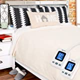 SimplyWarm Electric Heated Polar Fleece Blanket with Sensor-Safe Overheat Technology – New for 2018 HIGH TEC Digital Controller (Ivory, Queen w/Dual Controllers) (Color: Ivory, Tamaño: Queen w/Dual Controllers)