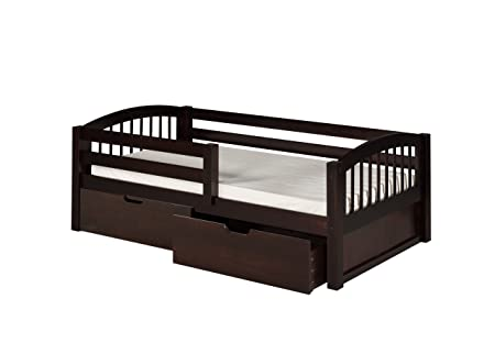 Camaflexi Arch Spindle Style Solid Wood Day Bed with Drawers and Front Rail Guard, Twin, Cappuccino