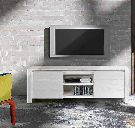 TV-Möbel Fichte wei? geburstet, Stil modern, aus MDF laminiert - Ma?e 165 x 45 x 55
