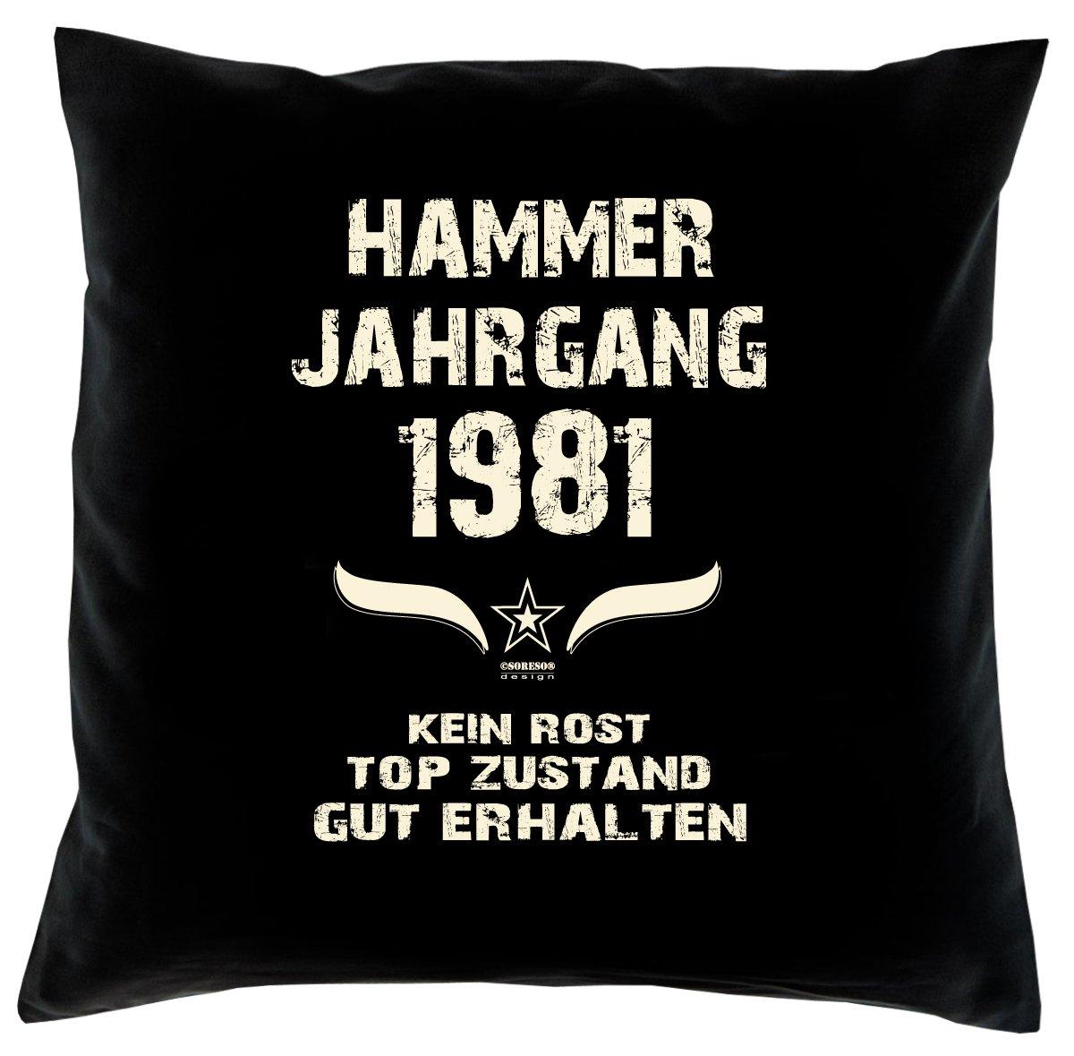 Cooles – Fun – Kissen – Sitzkissen – Zum 35. Geburtstag – Hammer Jahrgang 1981 Farbe: Schwarz – Größe: 40 x 40 cm bestellen