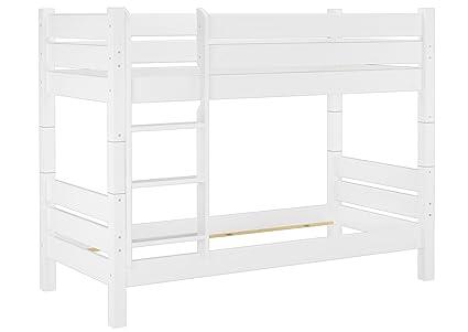 Etagenbett extra stabil 80x200 weiß, Nische 80 cm teilbar (ohne Zubehör) 60.16-08 W T80 oR