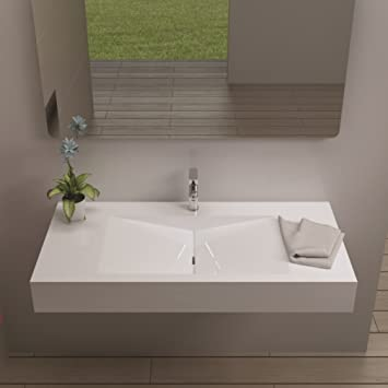 ADM Bathroom Design Glossy White Stone Resin Sink DW-114