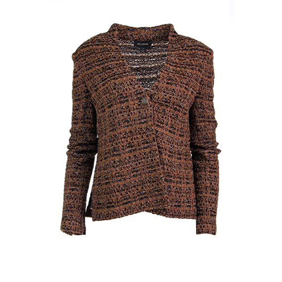 St John Womens Boucle Textured One-Button Blazer