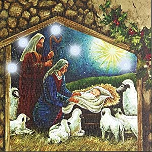 Indoor Cordless Lighted Nativity Scene Sign