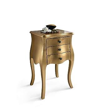 Cómoda Miavilla, mesa de noche, dorada, 3 gavetas madera de abeto, color dorado