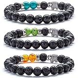 Hamoery Men Women 8mm Lava Rock Diffuser Bracelet Elastic Natural Stone Yoga Beads Bracelet Bangle,Elephant (3 Pcs Set1) (Color: 3 Pcs Set1-21011)
