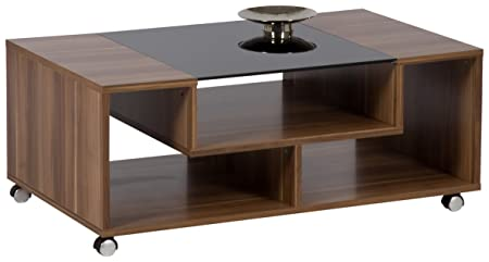 Couchtisch Nils, Holzwerkstoff, zwetschge , Schwarzglas ESG, Rollen, 42 x 100 x 60 cm