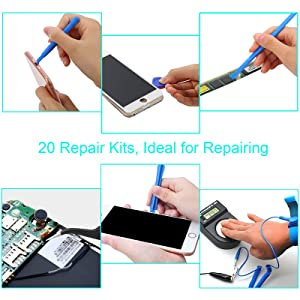 Kinstecks 20 in 1 Opening Pry Tool Repair Kit Professional Repair Tool Kit with Anti-Static Wrist Strap for Repairing iPhone iPad Samsung HTC LG Sony Cellphone Tablet MacBook Laptop