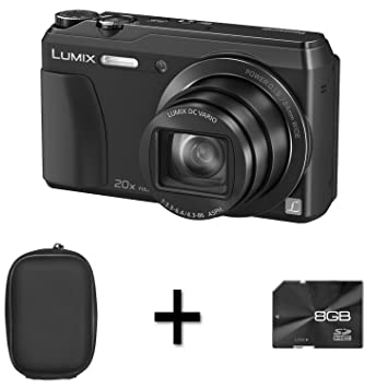 Panasonic Lumix DMC-TZ55 - Black + Case and 8GB Memory Card (16.0MP, 20x Optical Zoom, High Sensitivity MOS Sensor) 3 inch LCD
