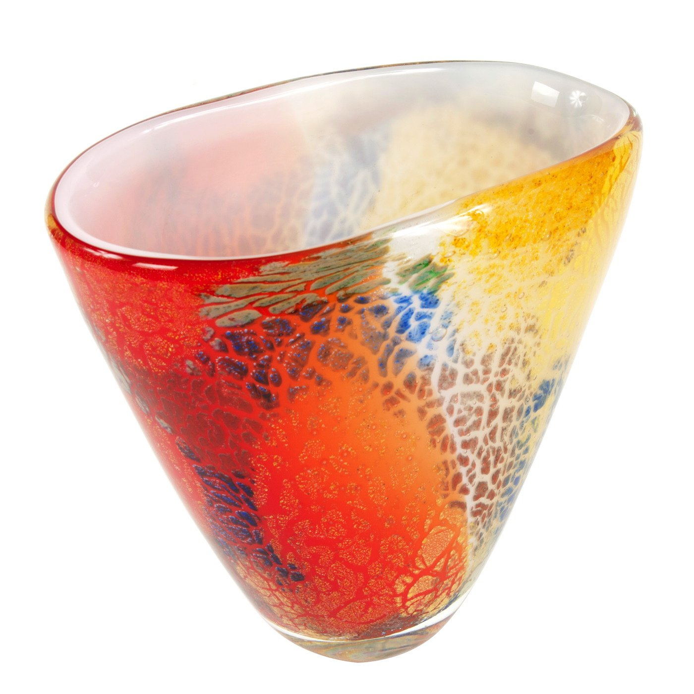 Multicolor Abstract Art Glass Vase image