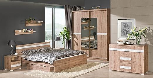 Schlafzimmer Komplettset RAVENNA 9-tlg. Schrank Bett Kommode Schublade Nakos Wandregale NEU