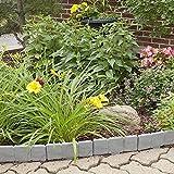 Evelots Interlocking Faux Stone Rock Border Flower bed Garden Edging - 10 Total