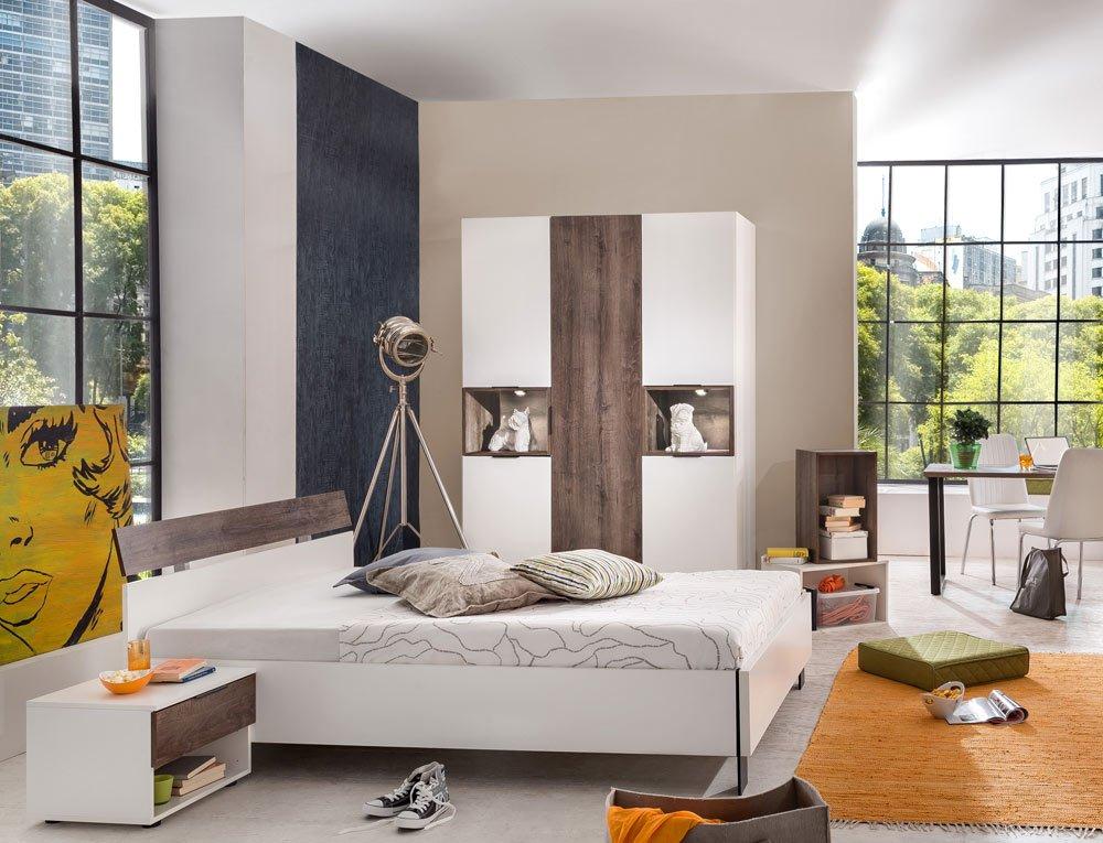 3-tlg. Jugendzimmer in alpinweiß mit Monastery-Oak-Nachbildung, Kleiderschrank B: 150 cm, Bett 140 x 200 cm, Nachtschrank B: 49 cm online kaufen