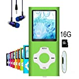 MP3 Player/MP4 Player, Hotechs MP3 Music Player with 16GB Memory SD card Slim Classic Digital LCD 1.82'' Screen MINI USB Port with FM Radio, Voice record (Color: 16G-Green..)