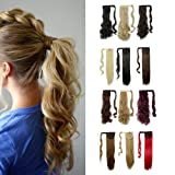 Wrap Around Synthetic Ponytail Clip in Hair Extensions One Piece Magic Paste Pony Tail Long Wavy Curly Soft Silky for Women Fashion and Beauty 17'' / 17 inch (light ash brown mix bleach blonde) (Color: light ash brown mix bleach blonde, Tamaño: Curly - 17'')