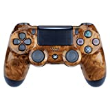 eXtremeRate Bird's Eye Wood Grain Hydro Dipped Front Housing Shell Case, Faceplate Cover Replacement Kit for Playstation 4 PS4 Slim PS4 Pro Controller (CUH-ZCT2 JDM-040 JDM-050 JDM-055) (Color: Bird's Eye Wood Grain)