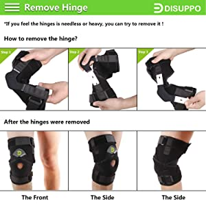 DISUPPO Hinged Knee Brace Support Women Men, Adjustable Open Patella Stabilizer for Sports Trauma, Sprains, Arthritis, ACL, Meniscus Tears, Ligament Injuries (Color: Hinges Removable, Tamaño: X-Large)
