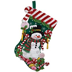 Candy Snowman Stocking Felt Applique Kit-18 Long