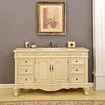 Silkroad Exclusive Countertop Marble Single Sink Bathroom Vanity with White Oak Finish Cabinet, 60-Inch