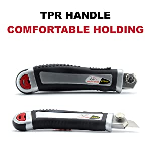 Retractable Box Cutter Utility Knife KUTIR - EASY SELF LOADING Zinc-Alloy Heavy Duty Carpet, Rope, Cardboard COMFORTABLE HANDLE Knive, 4 Sharp Rust Proof Razor Snap Off Blades Set - Metal SAFETY LOCK (Color: Black,red)