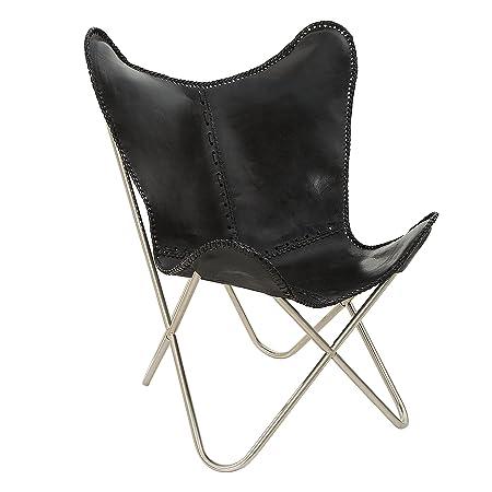 Designklassiker Lounge Sessel BUTTERFLY Echtleder schwarz Eisengestell