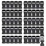 RETON 50 PCS 1 Inch Wide Black Adjustable Buckles Plastic Side Release Buckles - 2.6 ×1 Inch (25MM+) (Color: Black, Tamaño: 25MM+)