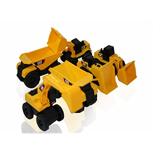 Toy State CAT Caterpillar Construction Toys Mini Machine set of 6 Assorted - Dump Truck Bulldozer Wheel Loader and Excavator- individually Packaged Free-Wheeling Vehicle Sand Box Toy Children Imagination Fun Also Great As Functional Cake Toppers