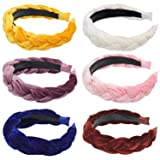 SUBANG 6 Pieces Velvet Braided Headband Twisted Knotted Headband Vintage Style Hair Band for Women