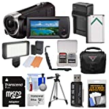 Sony Handycam HDR-CX405 1080p HD Video Camera Camcorder with 64GB Card + Battery & Charger + Case + LED Light + Tripod + Kit (Color: Black)