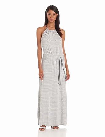 Michael Stars Women's Halter Maxi Dress, Heather Grey, Medium