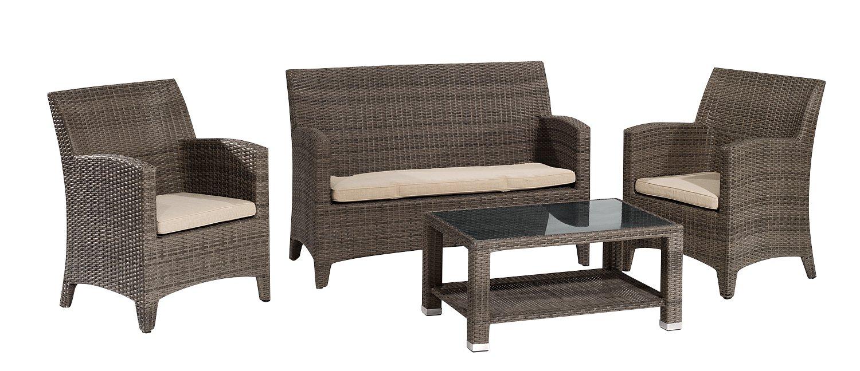 Gartenfreude Garnitur Polyrattan mit Granitplatte und Auflagen, Aluminiumgestell, Cappuccino, 4-teilig jetzt kaufen