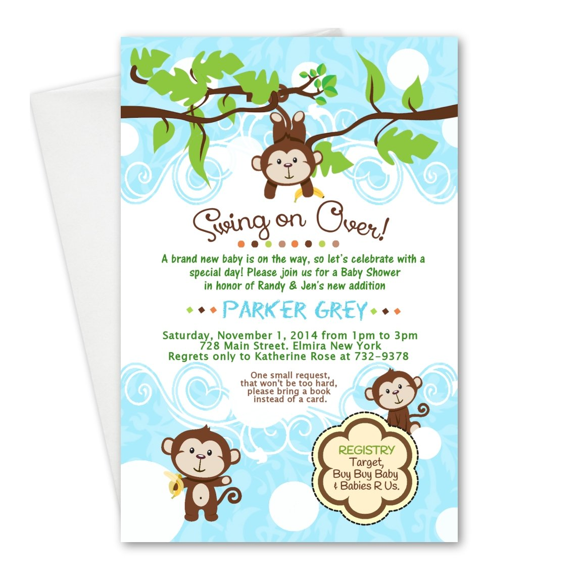 boy monkey baby shower invitations baby shower mania