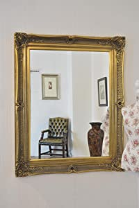 Very Large and Imposing Fabulous ANTIQUE GOLD Overmantle or Wall Mirror with Deep Ornate Frame and complete with Premium Quality Pilkington&'s Glass   Overall Size  42 inches x 52 inches (107cm x 132cm)       review and more information