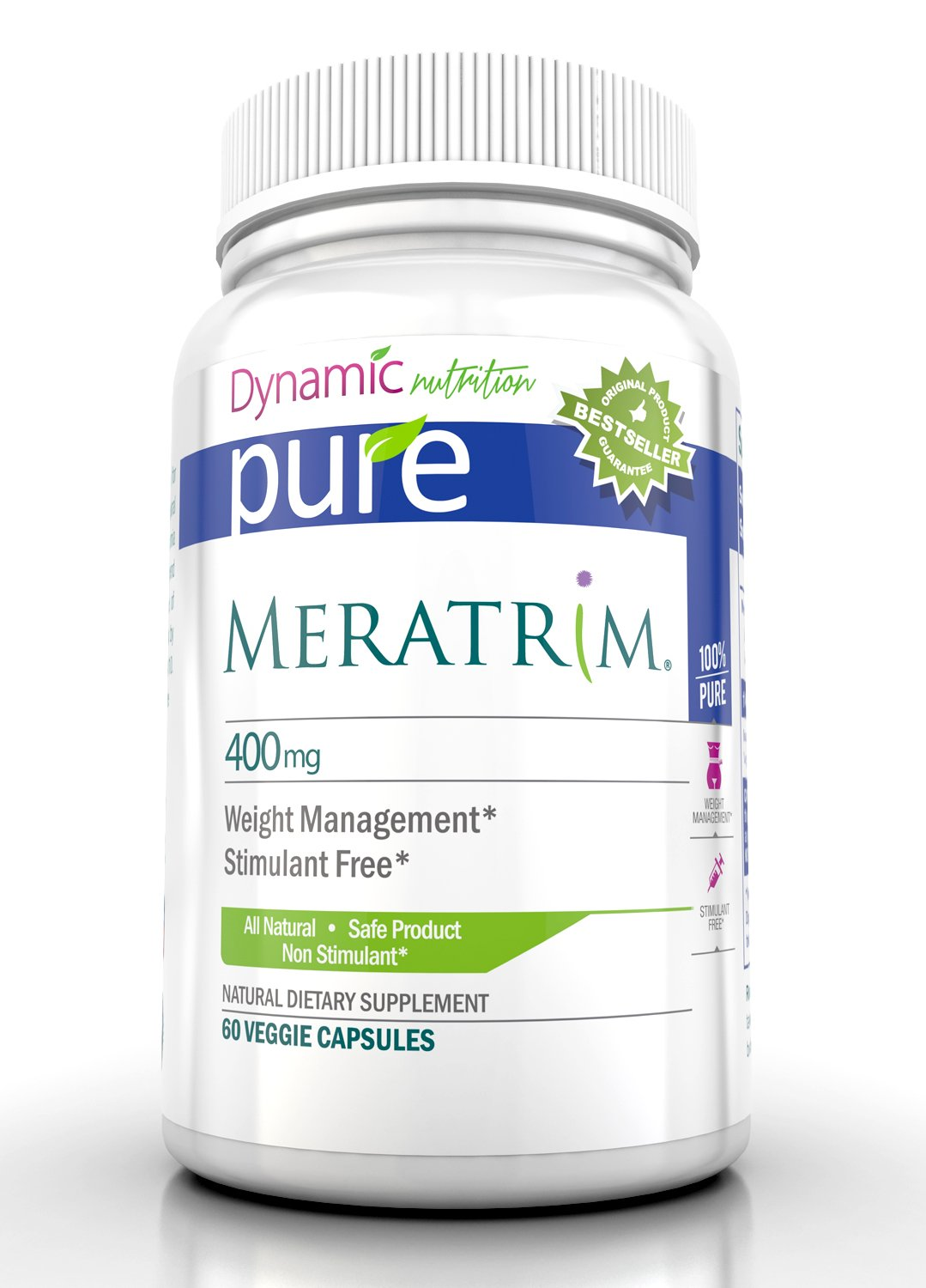 Meratrim Pure Weight Loss Slimming Formula 400mg Daily, Patent Pending Formula Clinically Proven to Lose Weight Starting in 2 Weeks, Stimulant Free - 60 Count - This Offer Is for One Bottle Manufactured in a USA Based GMP Organic Certified Facility- Guar gmp certified inflammation relieving natural 98