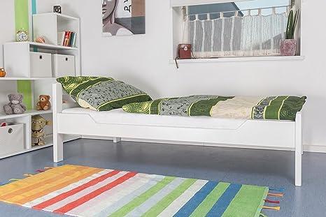 "Holzbett ""Easy Sleep"" K1/2n, Buche Vollholz massiv weiß lackiert - Maße: 90 x 200 cm"