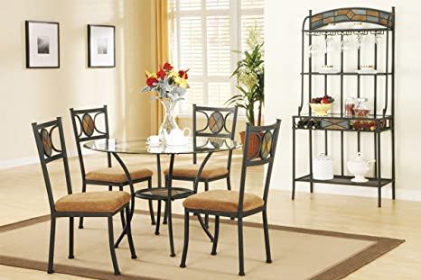 Poundex F2003 & F1029 Clear Glass Table Top W/ Beige Fabric Chairs Dining Set