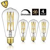 10W Edison Style Vintage LED Filament Light Bulb,ST64(ST21) Led Retro Bulb,100 Watt Equivalent Light Bulbs,Warm White 2700K,1200LM,Dimmable, E26 Medium Base Lamp, Antique Shape, (4 Pack) (Color: 10w-warm White-4p)
