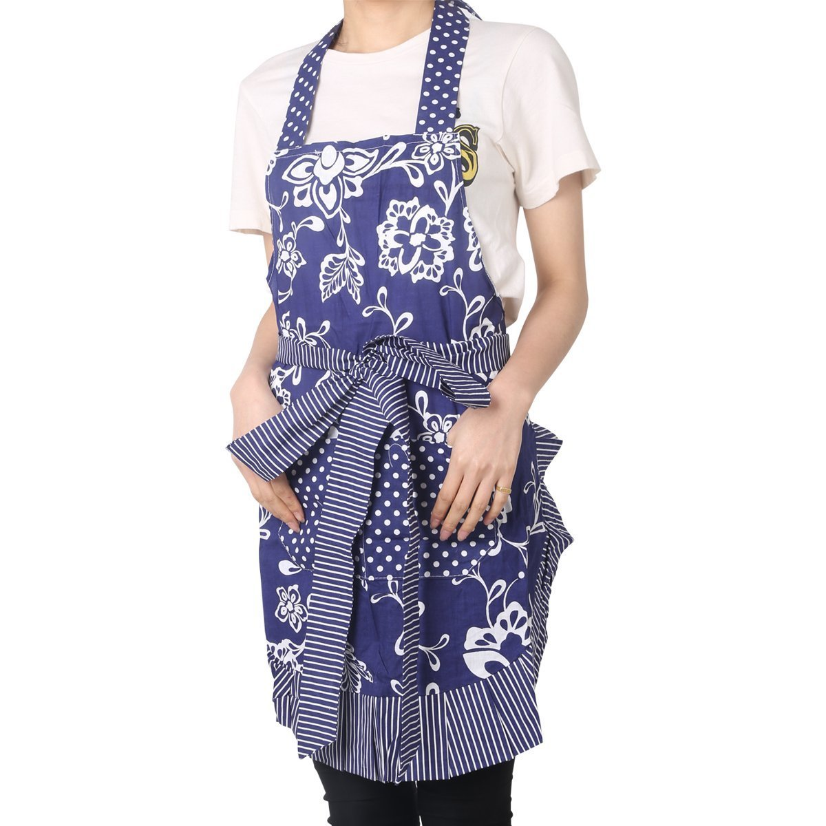 Floral Apron for Women with Pockets, Extra Long Ties, G2PLUS Vintage Apron, Perfect for Kitchen Cooking, Baking and Gardening, 29 x 21 – inch (Blue) 3