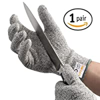 AOFU Cut Resistant Gloves,High Performance Level 5 Protection,Food Grade Certified Kitchen and Work Safety Lightweight Breathable and Extra Comfortable,1 Pair Large via Amazon