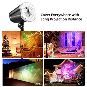 LYRABAY Christmas Outdoor Projector Laser Lights, Meteor Shower with Ocean Wave Light, Laser LED Light with Remote Control, Night Light Projector for Xmas, Party, Halloween Landscape Decoration (Color: Black)