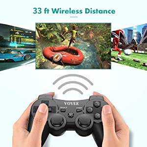 VOYEE PS3 Controller Wireless - Rechargable Remote Control/Gamepad with Charging Cable for Sony Playstation 3 (Black) (Color: Black)