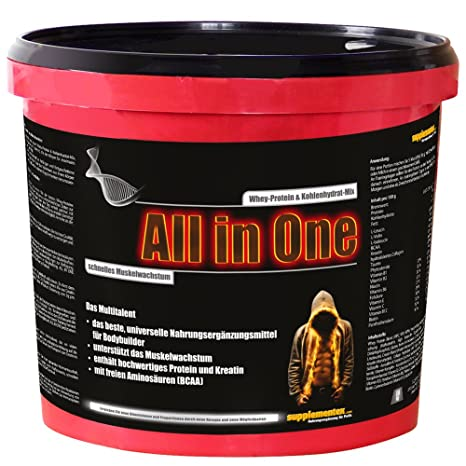 Das neue ALL in ONE! 2,6kg Whey-Protein Kohlenhydrat-Mix Multitalent Muskelwachstum Anabolika hochwertiges Kreatin BCAAs Shake Himbeergeschmack