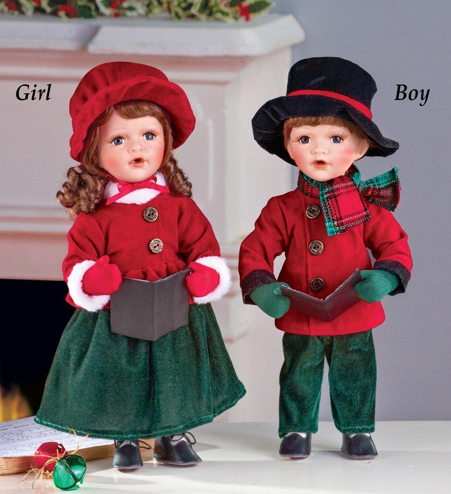 Christmas Caroler Collectible Porcelain Dolls Boy