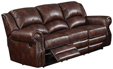 AC Pacific Fulton Reclining Sofa, Dark Brown