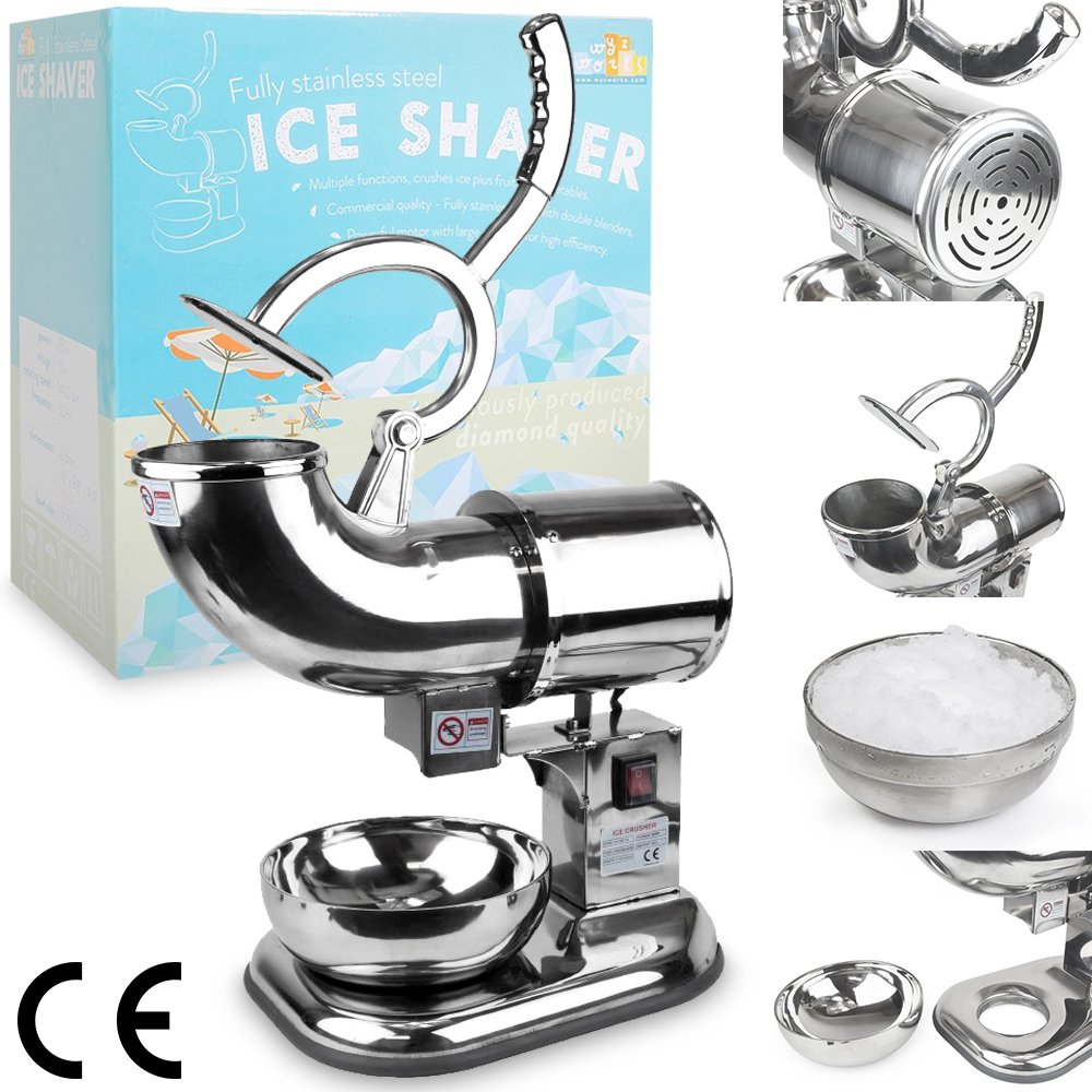 WYZworks Commercial Heavy Duty 440lb/h Sno Snow Cone Ice Shaver Shaved Icee Maker Machine Stainless Steel