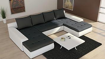Canapé panoramique convertible et réversible JOYU noir et blanc