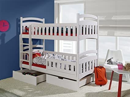 DOMINIC 2 Children Bunk Bed - Pine Wood - 24 Colours - 2 Sizes - 4 Types of Mattresses (UK Standard 199cm x 94cm x 160cm)